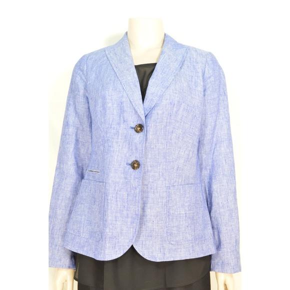 Talbots Jackets & Blazers - Talbots jacket blazer SZ 4 blue 100% linen long sl
